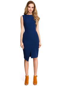 MOE - Granatowa Wyjściowa Dopasowana Sukienka z Asymetrycznym Rozporkiem. Kolor: niebieski. Materiał: poliester, elastan. Typ sukienki: asymetryczne. Styl: wizytowy