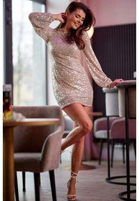 e-margeritka - Sukienka z cekinami mini beżowa - m. Okazja: na sylwestra, na imprezę, na karnawał. Kolor: beżowy. Materiał: tkanina, poliester, elastan. Długość rękawa: długi rękaw. Typ sukienki: dopasowane. Długość: mini