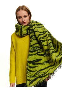 Zielony szalik TOP SECRET na zimę, w kolorowe wzory