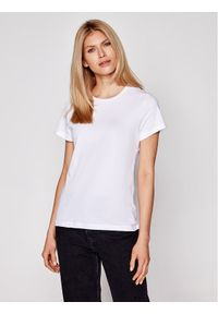 Samsoe & Samsoe - Samsøe Samsøe T-Shirt Solly Solid F00012050 Biały Regular Fit. Kolor: biały