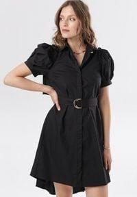 Born2be - Czarna Sukienka Calomis. Kolor: czarny. Materiał: materiał. Typ sukienki: asymetryczne, koszulowe. Długość: mini