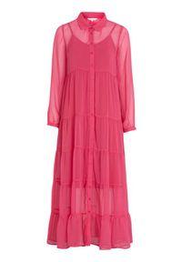 Happy Holly Sukienka maxi Elsie czerwonoróżowy female czerwony/różowy 36/38. Kolor: czerwony, różowy, wielokolorowy. Materiał: jersey, materiał. Długość rękawa: na ramiączkach. Styl: elegancki. Długość: maxi