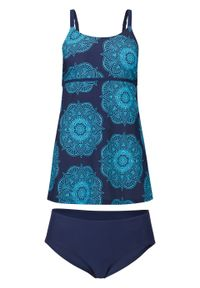 Niebieski strój kąpielowy bonprix długi, z nadrukiem