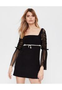 SELF PORTRAIT - Czarna sukienka mini z kryształami. Typ kołnierza: dekolt kwadratowy. Kolor: czarny. Materiał: tkanina. Wzór: ażurowy. Typ sukienki: rozkloszowane, dopasowane, proste. Styl: klasyczny, elegancki. Długość: mini