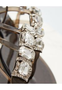 Casadei - CASADEI - Transparentne sandały z kryształami. Kolor: czarny. Wzór: napisy