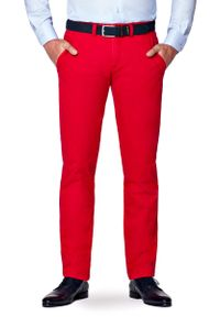Lancerto - Spodnie Czerwone Chino Pedro II. Okazja: na co dzień. Kolor: czerwony. Materiał: tkanina, elastan, syntetyk, materiał, bawełna. Wzór: moro, kolorowy. Styl: militarny, elegancki, sportowy, klasyczny, casual