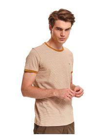 Żółty t-shirt TOP SECRET w paski, z krótkim rękawem, casualowy, na co dzień