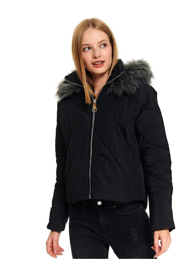 Czarna kurtka TOP SECRET z kapturem, elegancka, na jesień, w kolorowe wzory