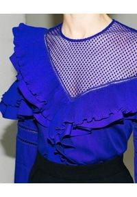 SELF PORTRAIT - Kobaltowa bluzka z falbanami. Kolor: niebieski. Materiał: materiał. Długość rękawa: długi rękaw. Długość: długie. Wzór: grochy, ażurowy