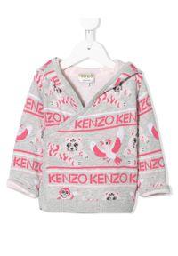 Kenzo kids - KENZO KIDS - Kolorowa bluza z kapturem 0-3 lat. Typ kołnierza: kaptur. Kolor: szary. Materiał: bawełna, dresówka, prążkowany. Długość: długie. Wzór: kolorowy. Sezon: lato