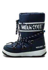 Niebieskie buty zimowe Moon Boot z cholewką, sportowe