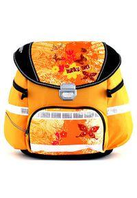 Żółty plecak Leasyn w kolorowe wzory