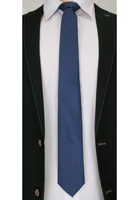 Męski Krawat, Niebieskie Drobne Akcenty - Chattier- 6,7cm, Ciemny Niebieski. Kolor: niebieski. Materiał: tkanina. Styl: wizytowy, elegancki