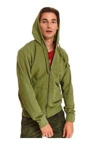 TOP SECRET - Bluza rozpinana z kapturem. Typ kołnierza: kaptur. Kolor: brązowy. Materiał: bawełna. Sezon: lato