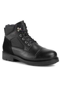 Czarne buty zimowe TOMMY HILFIGER z cholewką, klasyczne