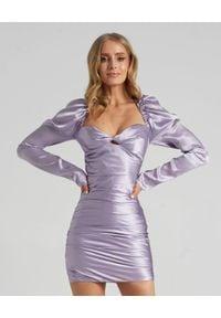SELF LOVE - Fioletowa sukienka Tokyo z jedwabiu. Kolor: fioletowy, różowy, wielokolorowy. Materiał: jedwab. Typ sukienki: kopertowe, dopasowane. Długość: mini