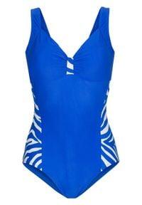 Kostium kąpielowy bonprix błękit królewski - biały. Kolor: niebieski