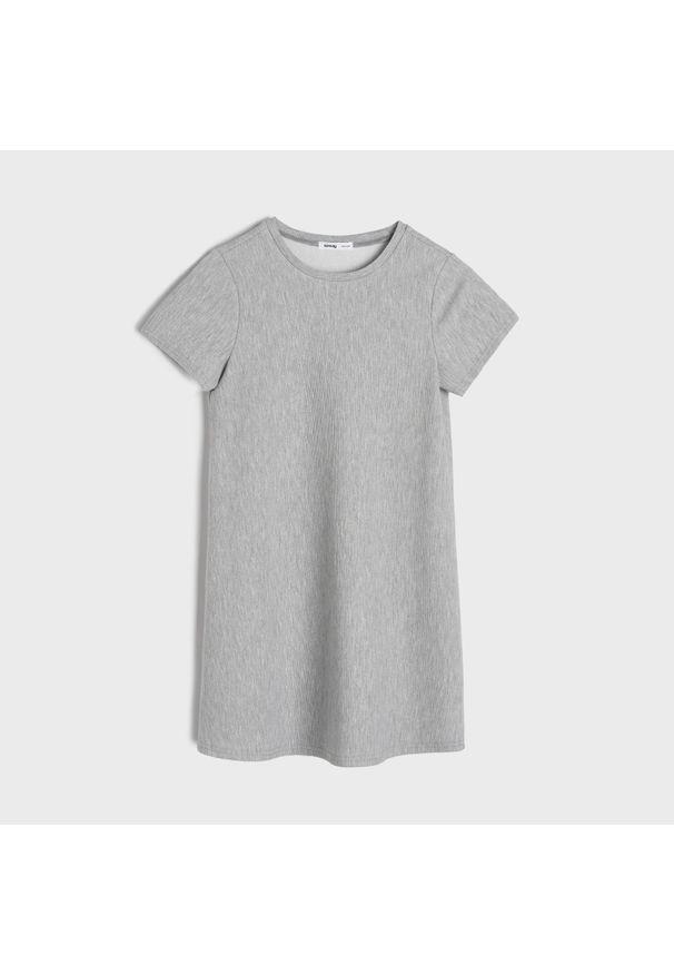 Sinsay - Dresowa sukienka - Szary. Kolor: szary. Materiał: dresówka