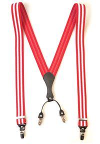 Modini - Czerwone szelki męskie z białymi paskami SZ41. Kolor: biały, wielokolorowy, czerwony. Materiał: skóra, guma
