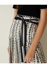 Marella - MARELLA - Wzorzyste spodnie kuloty Jinger. Stan: podwyższony. Kolor: biały. Materiał: tkanina, materiał. Wzór: gładki. Styl: elegancki