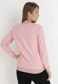 Born2be - Różowa Bluza Peranassa. Kolor: różowy. Materiał: bawełna, jeans. Wzór: napisy, nadruk