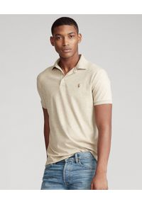 Ralph Lauren - RALPH LAUREN - Beżowa koszulka polo Slim Fit Soft Cotton. Typ kołnierza: polo. Kolor: beżowy. Materiał: prążkowany. Wzór: kolorowy