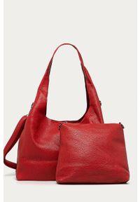 Czerwona shopperka Answear Lab duża, wakacyjna, na ramię