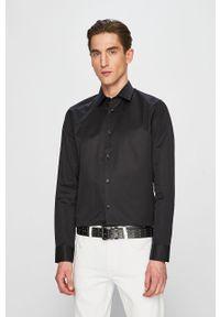 Czarna koszula Selected długa, gładkie, z klasycznym kołnierzykiem