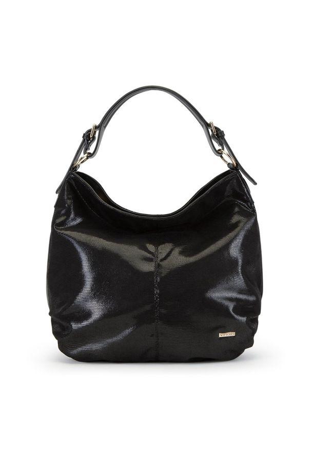 Czarna torebka worek Wittchen elegancka, na ramię