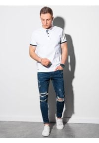 Ombre Clothing - Koszulka męska polo bawełniana S1381 - biała - XXL. Typ kołnierza: polo. Kolor: biały. Materiał: bawełna