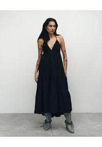 VICHER - Czarna sukienka midi Josephine. Kolor: czarny. Materiał: bawełna. Sezon: lato. Długość: midi