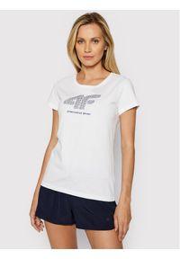 4f - 4F T-Shirt H4L21-TSD011 Biały Regular Fit. Kolor: biały