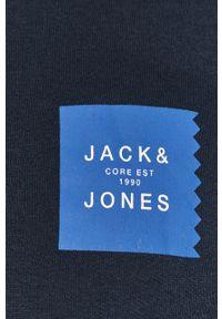 Niebieska bluza nierozpinana Jack & Jones z kapturem, casualowa, na co dzień, z nadrukiem
