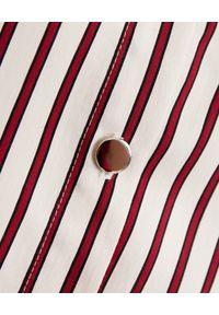 THECADESS - Koszula z marszczonymi rękawami Pula. Typ kołnierza: kołnierzyk klasyczny. Kolor: beżowy. Materiał: tkanina. Długość: długie. Wzór: paski. Styl: klasyczny, elegancki