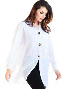 Awama - Biała Oversizowa Koszula z Ozdobnymi Guzikami. Kolor: biały. Materiał: poliester