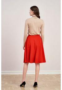 Marie Zélie - Spódnica Carissa krepa wiskozowa czerwona. Kolor: czerwony. Materiał: wiskoza