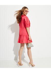 SELF PORTRAIT - Różowa sukienka mini z falbanami. Typ kołnierza: z żabotem. Kolor: wielokolorowy, różowy, fioletowy. Materiał: koronka, bawełna. Wzór: aplikacja, koronka. Długość: mini