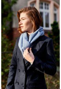 Marie Zélie - Płaszcz wełniany Debora granatowy. Kolor: niebieski. Materiał: wełna. Wzór: motyw zwierzęcy. Sezon: zima. Styl: klasyczny #4
