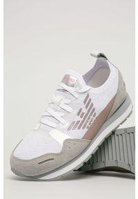 Białe buty sportowe Emporio Armani z cholewką, na sznurówki