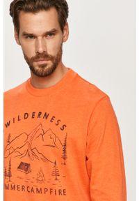 Brązowa bluza nierozpinana PRODUKT by Jack & Jones z okrągłym kołnierzem, z nadrukiem, casualowa, na co dzień