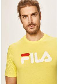 Żółty t-shirt Fila z nadrukiem, casualowy, z okrągłym kołnierzem, na co dzień