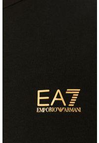 Czarna koszulka z długim rękawem EA7 Emporio Armani na co dzień, casualowa