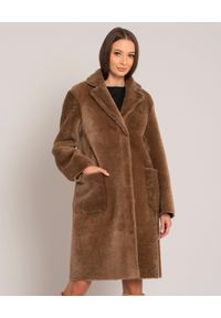 Brązowy płaszcz ALMAROSAFUR na zimę, klasyczny
