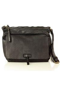 Czarna torebka retro, skórzana