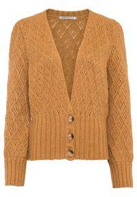 Sweter rozpinany z wysokim ściągaczem bonprix wielbłądzia wełna. Typ kołnierza: dekolt w serek. Kolor: żółty. Materiał: wełna