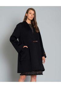 Czarny płaszcz LES COPAINS klasyczny, na jesień, długi, z długim rękawem