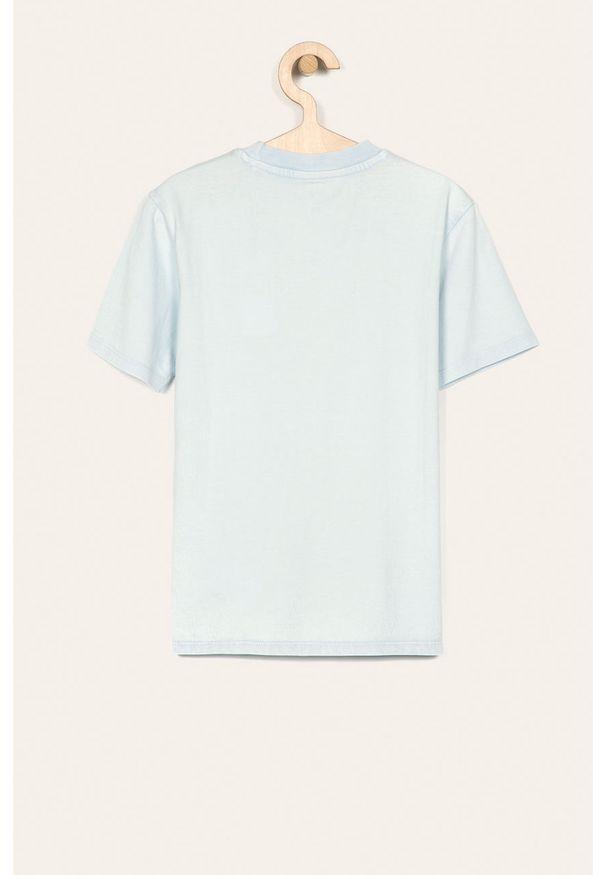 Niebieski t-shirt Guess Jeans casualowy, z okrągłym kołnierzem, na co dzień, z aplikacjami