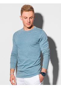 Ombre Clothing - Longsleeve męski bez nadruku L131 - błękitny - XXL. Kolor: niebieski. Materiał: bawełna. Długość rękawa: długi rękaw