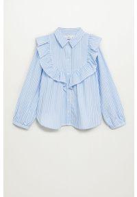 Niebieska koszula Mango Kids casualowa, długa, z długim rękawem, na co dzień