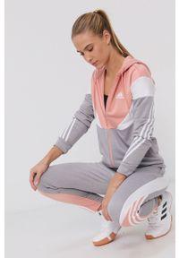 adidas Performance - Adidas Performance - Dres. Kolor: szary. Materiał: dresówka